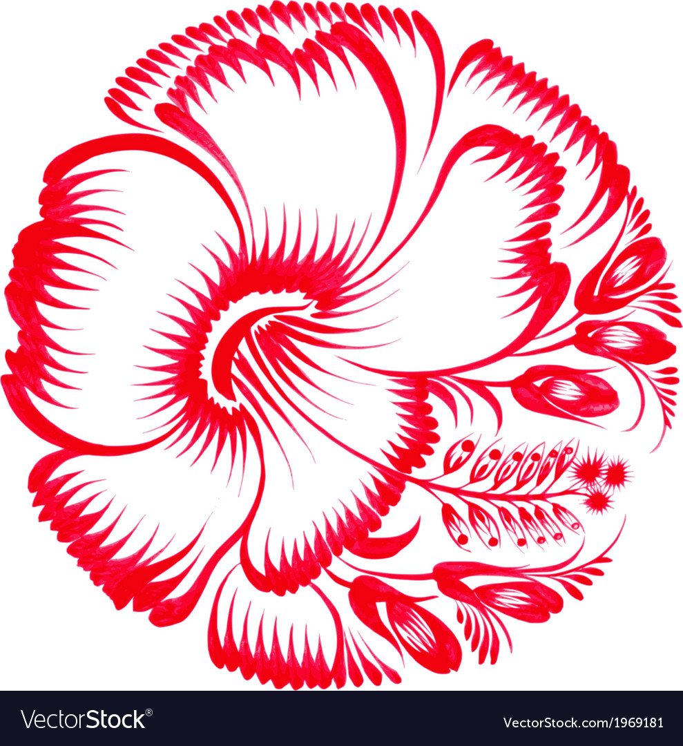 Floral decorative ornament red hibiscus vector   Price: 1 Credit (USD $1)