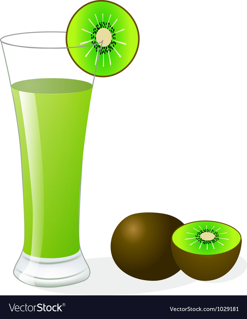 Fruit kiwi and glass of juice vector | Price: 1 Credit (USD $1)