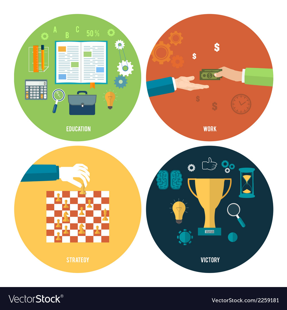 Icons for education work strategy victory vector | Price: 1 Credit (USD $1)