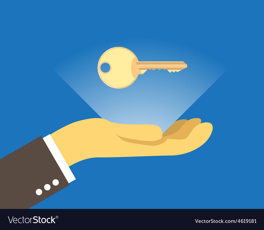 Key over the hand vector | Price: 1 Credit (USD $1)