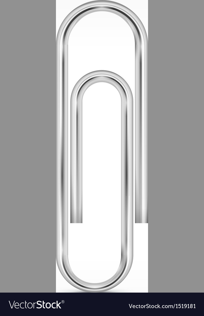 Metallic paperclip on white vector | Price: 3 Credit (USD $3)