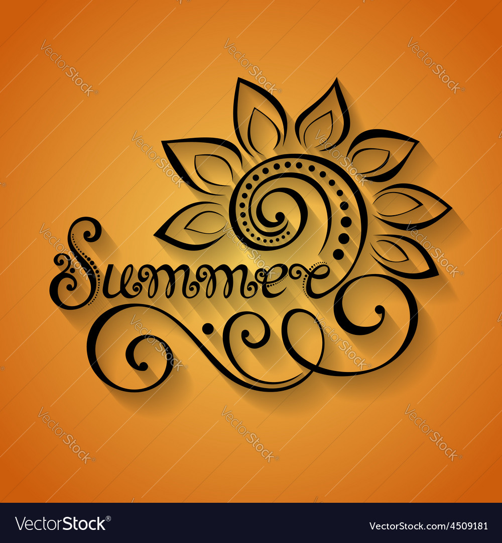 Name of season of the year summer inscription vector | Price: 1 Credit (USD $1)