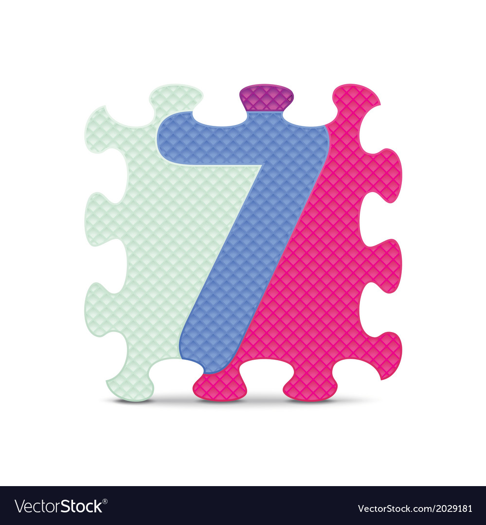 Number 7 written with alphabet puzzle vector | Price: 1 Credit (USD $1)