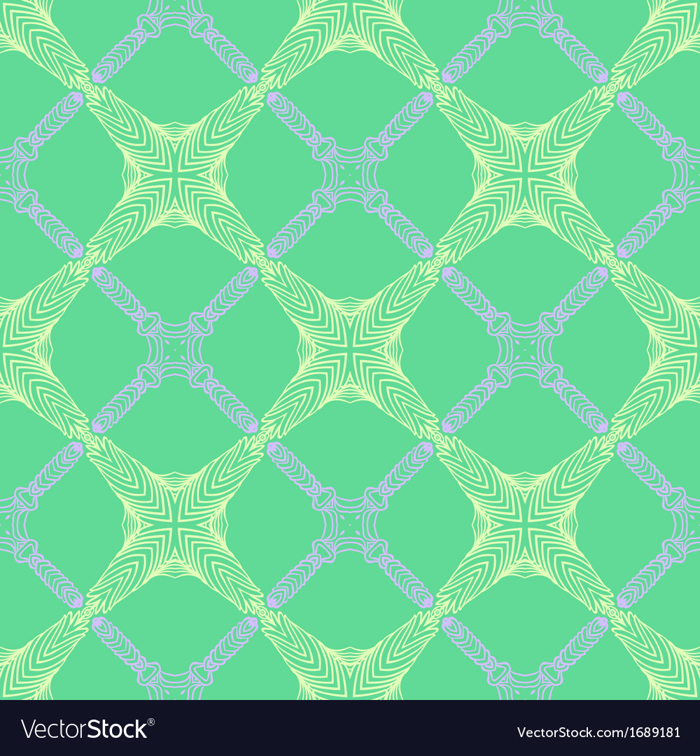 Pattern in emerald green thin elegant lines vector | Price: 1 Credit (USD $1)