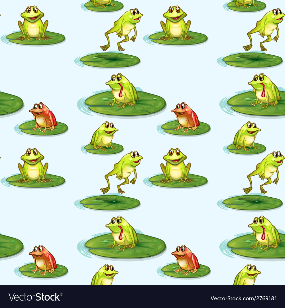 Seamless design of the frogs at the pond vector | Price: 1 Credit (USD $1)