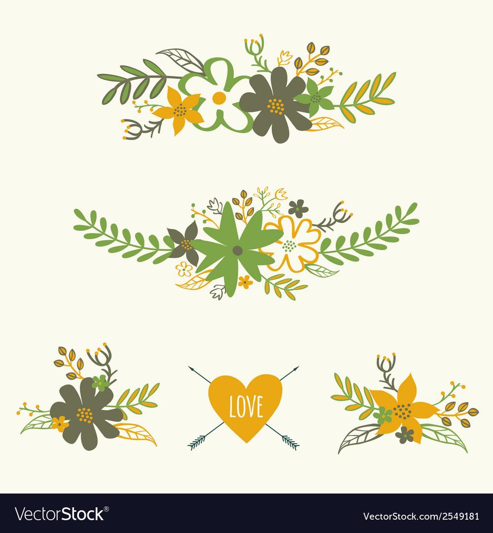 Set of cute retro floral bouquets vector | Price: 1 Credit (USD $1)