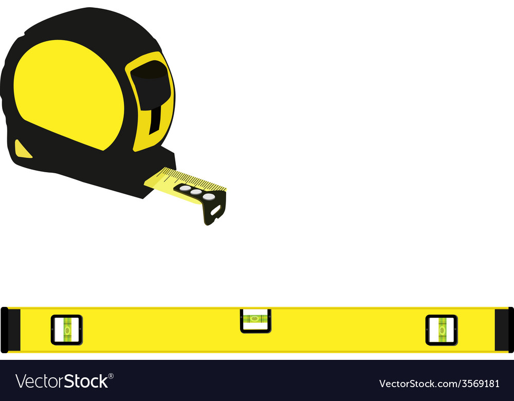 Yellow level construction and tape measure vector | Price: 1 Credit (USD $1)