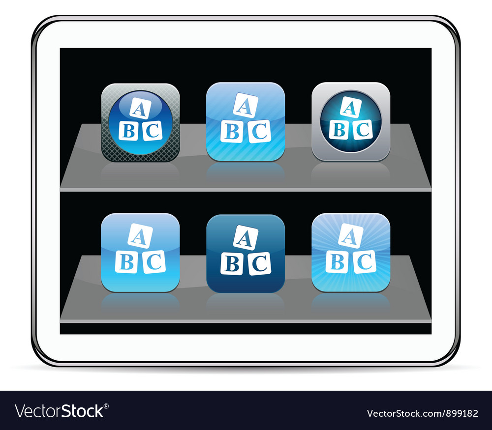 Abc cubes blue app icons vector | Price: 1 Credit (USD $1)