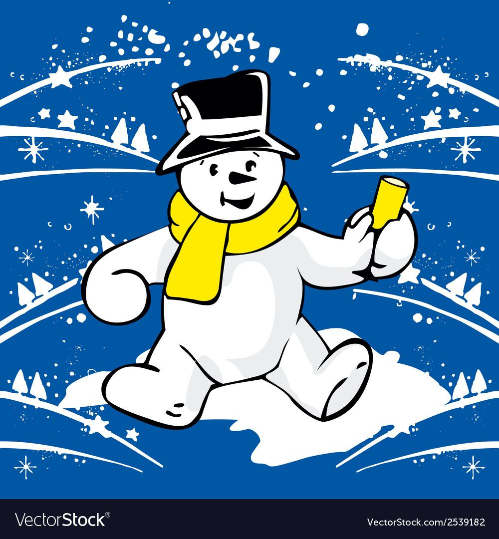 Cheerful snowman vector | Price: 1 Credit (USD $1)