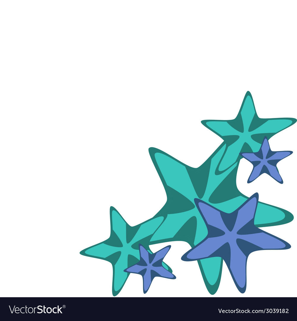 Decorative frame with starfishes vector | Price: 1 Credit (USD $1)