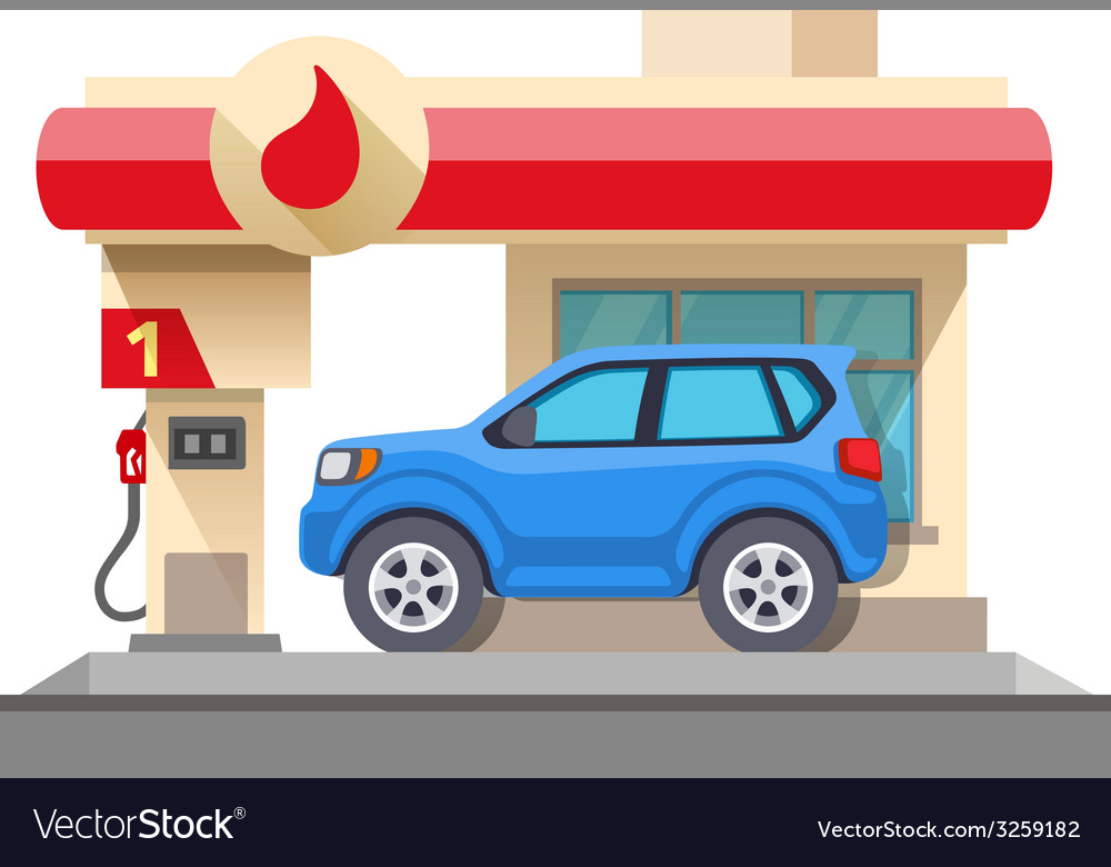 Gas station and car isolated on white vector
