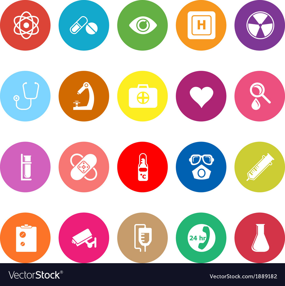 General hospital flat icons on white background vector | Price: 1 Credit (USD $1)