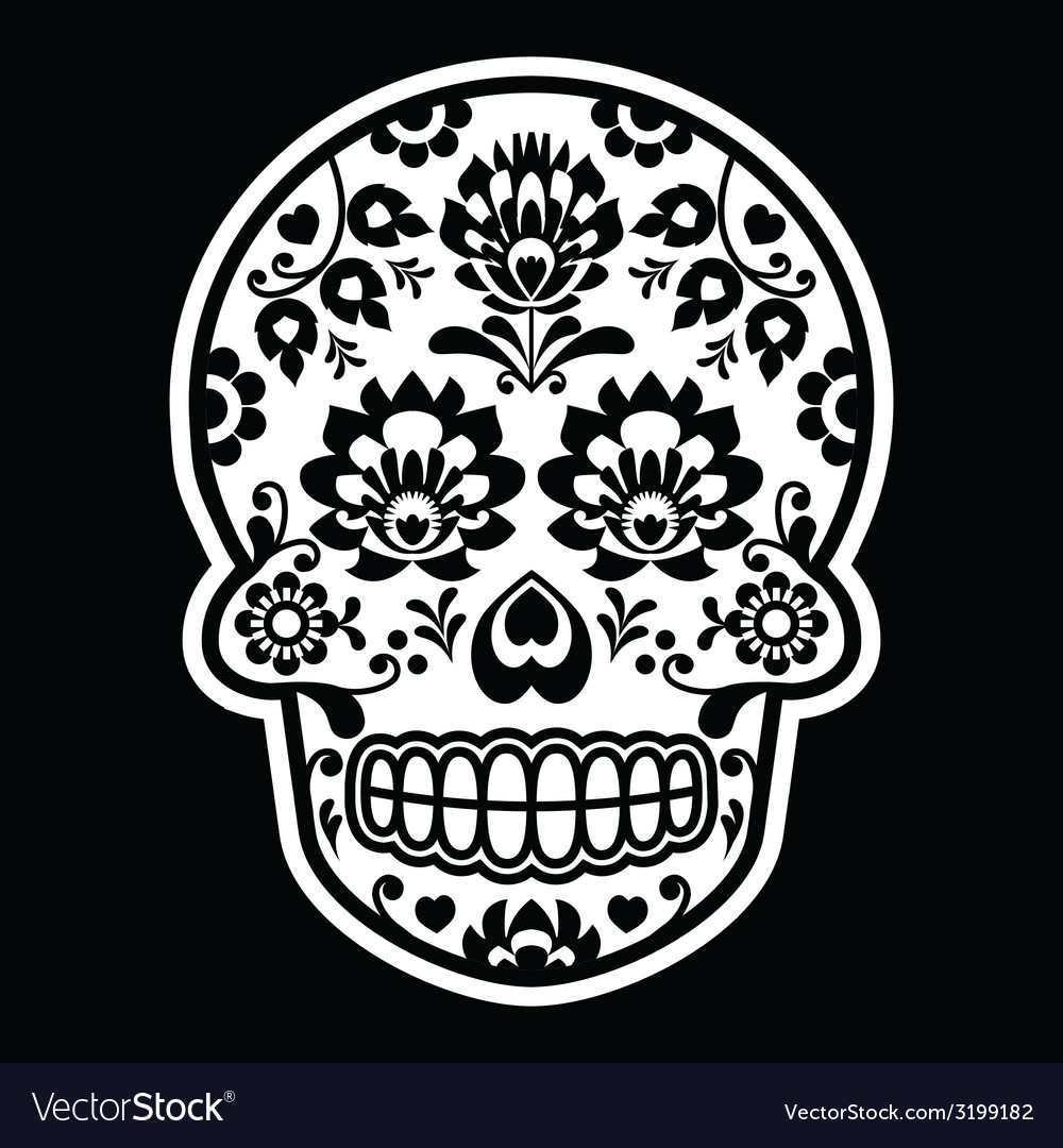 Mexican sugar skull - polish folk art style vector | Price: 1 Credit (USD $1)