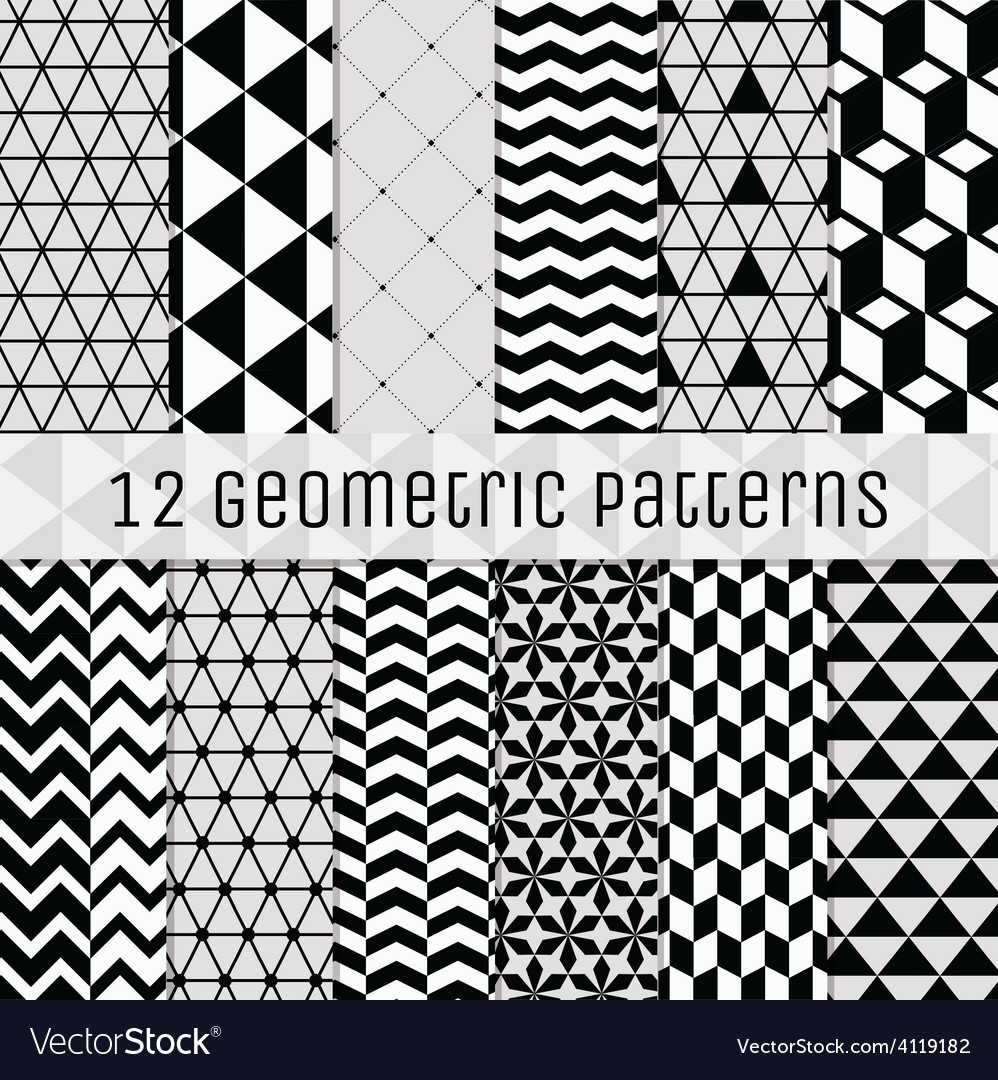 Seamless black and white geometric background set vector | Price: 1 Credit (USD $1)