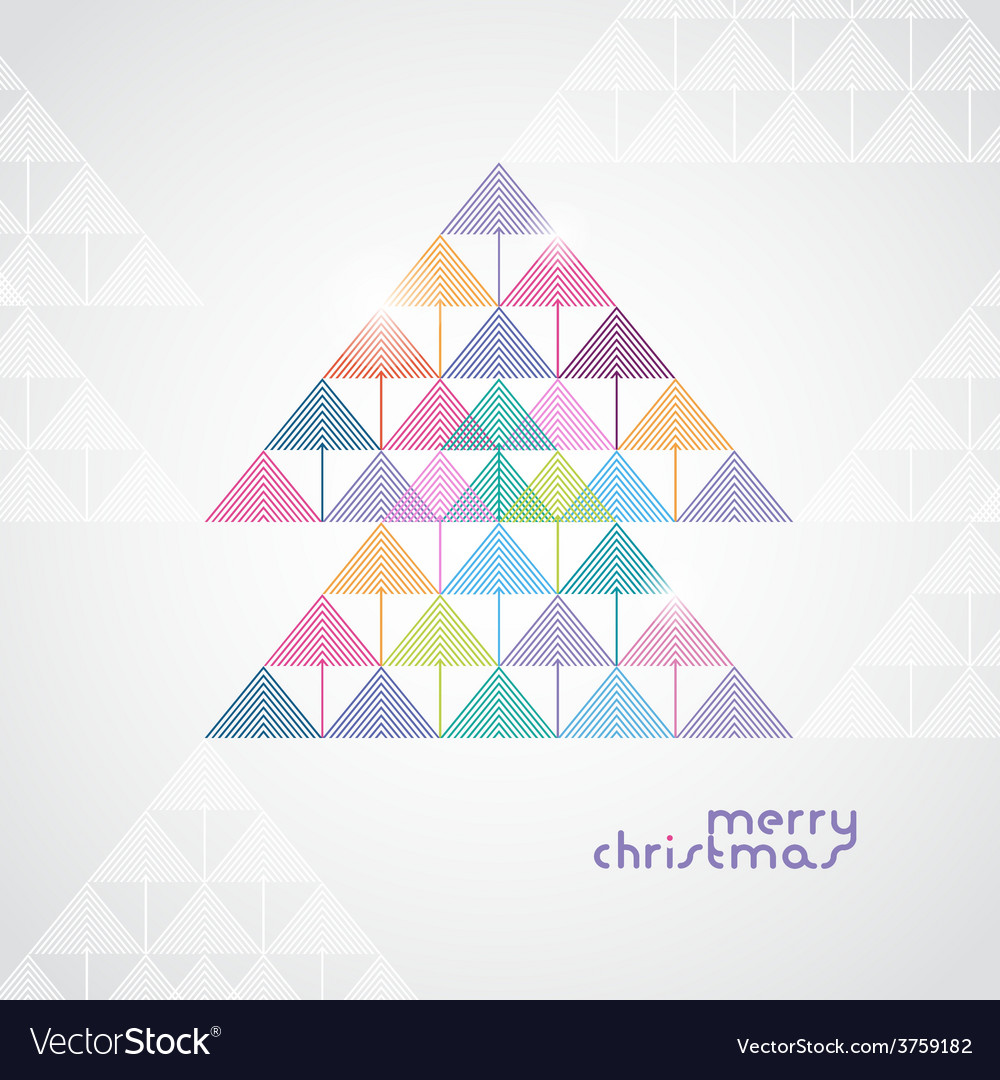 Stylized geometrical christmas tree from color vector