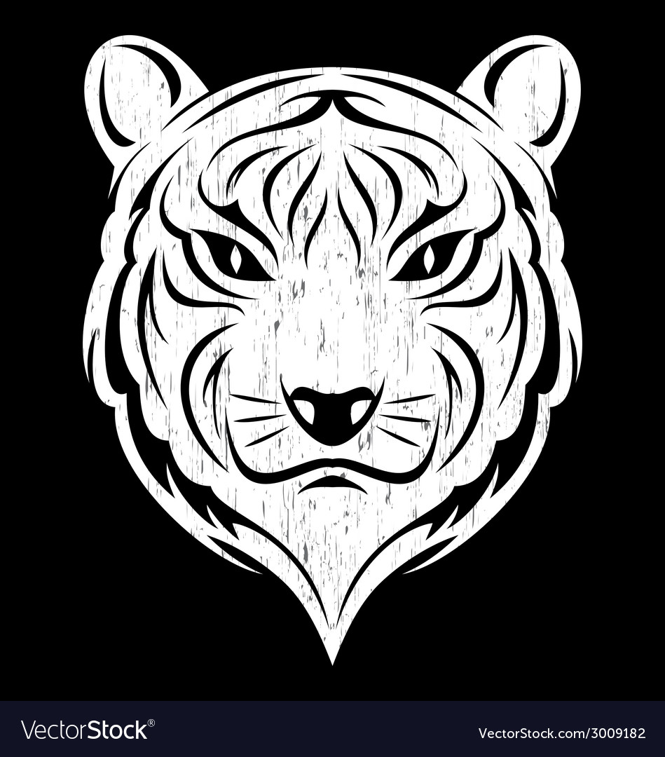 White tiger head vector | Price: 1 Credit (USD $1)