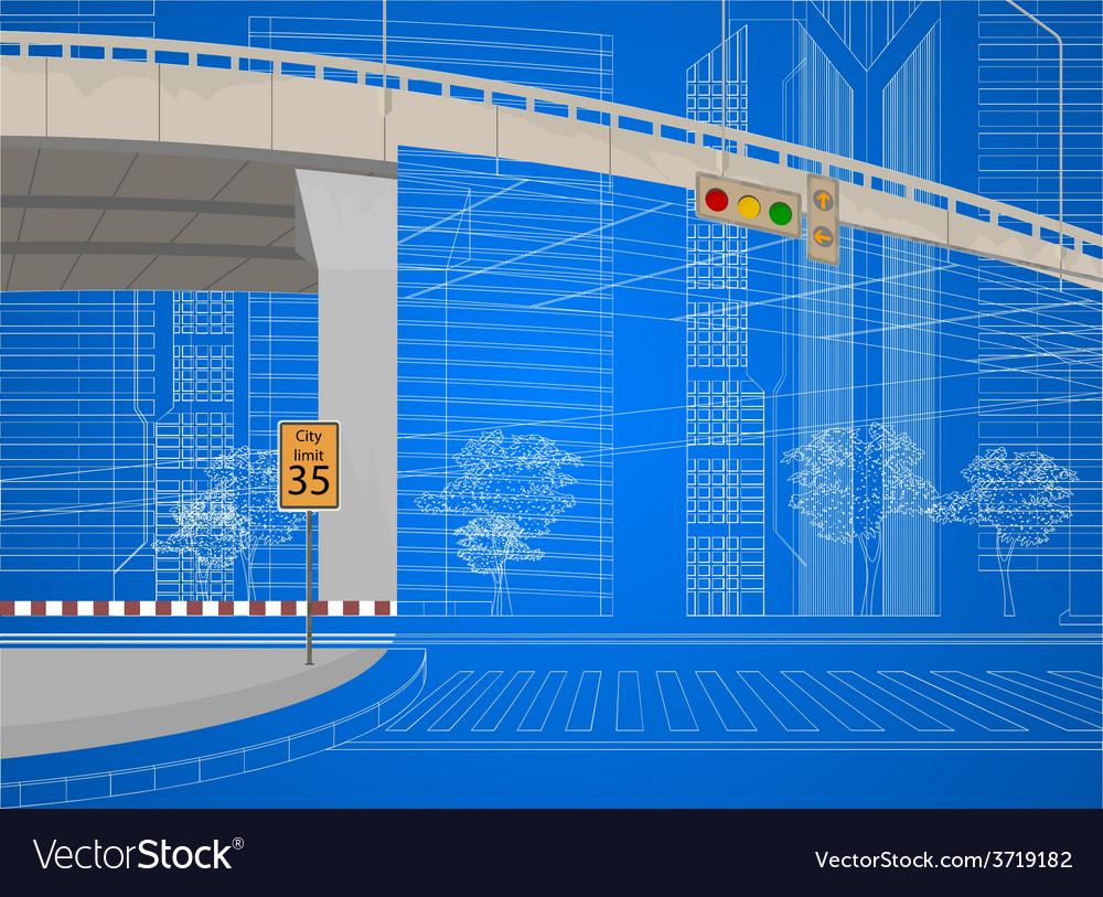 Wireframe city streets scene vector | Price: 1 Credit (USD $1)