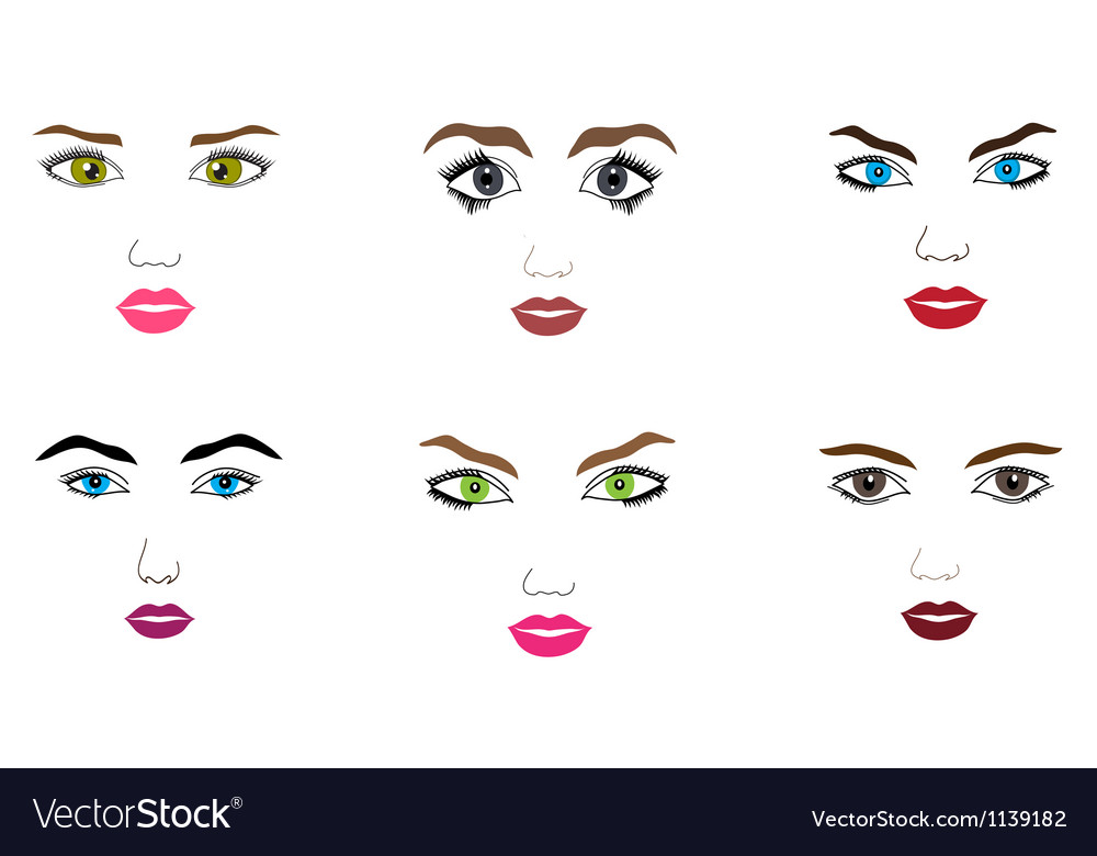 Woman faces set vector | Price: 1 Credit (USD $1)