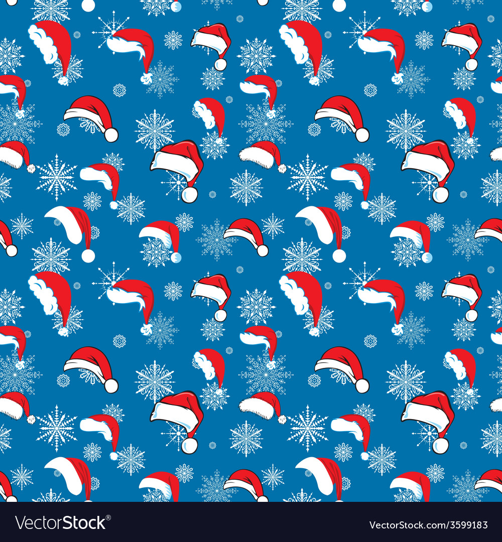 Blue santa hat pattern vector | Price: 1 Credit (USD $1)