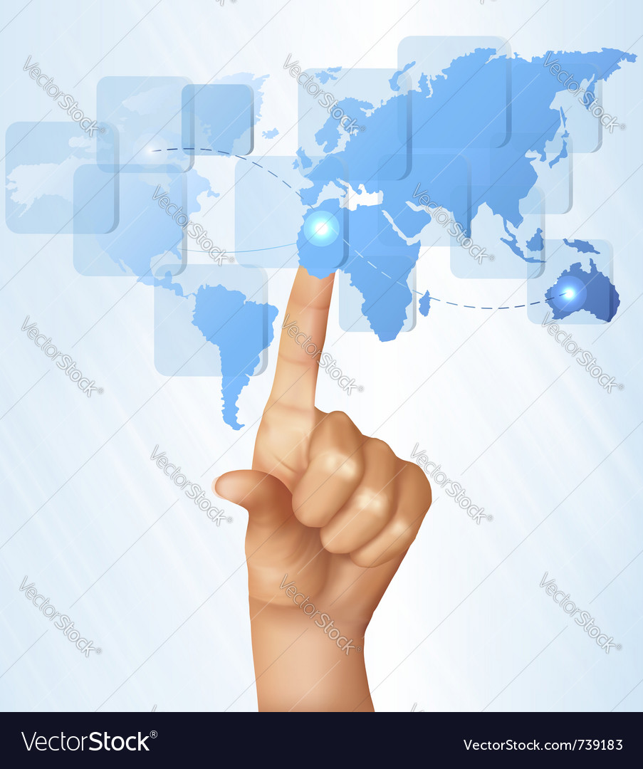 Finger touching world map on a touch screen vector | Price: 3 Credit (USD $3)