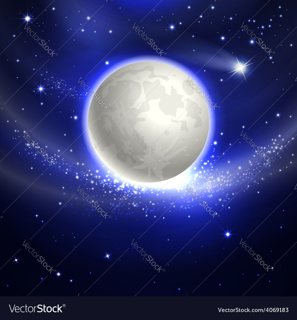 Moon in the night sky vector | Price: 1 Credit (USD $1)