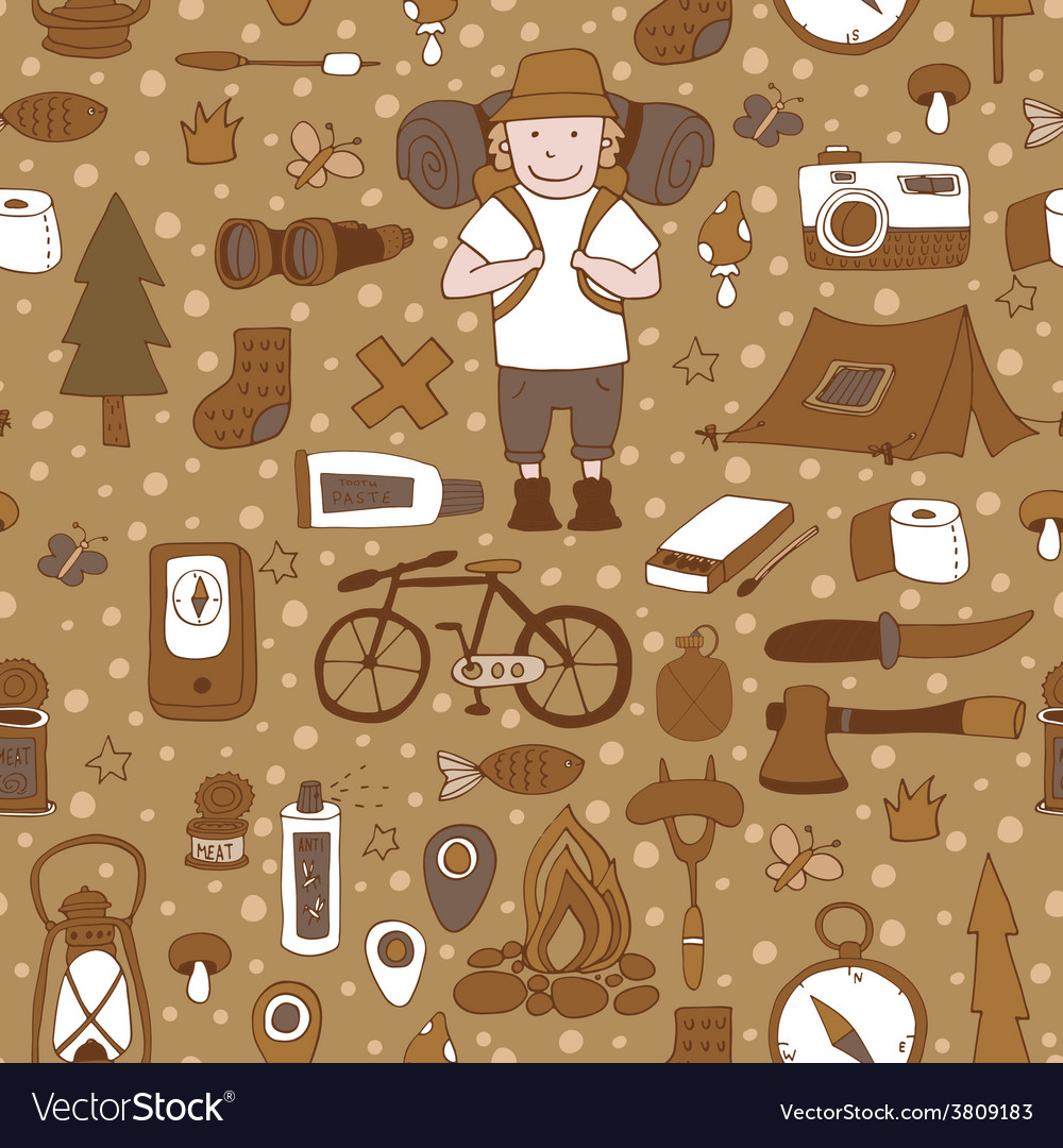 Seamless pattern with adventure equipment vector | Price: 1 Credit (USD $1)