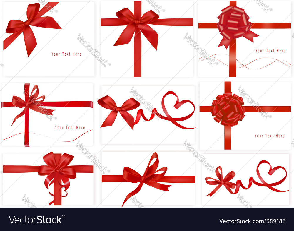 Set with beauty red bows vector