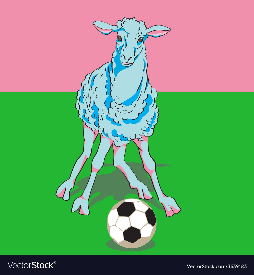 Sheep playing football vector | Price: 1 Credit (USD $1)