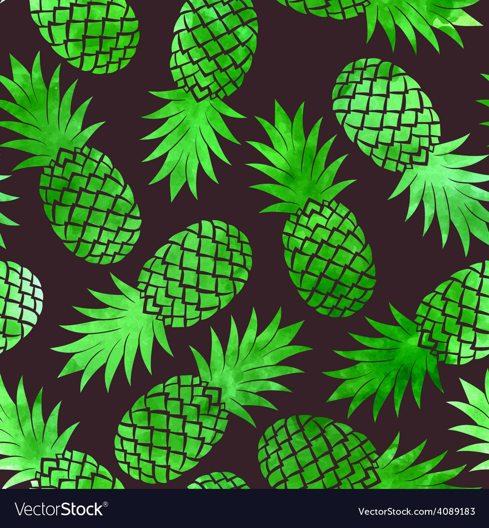 Vintage pineapple seamless pattern vector | Price: 1 Credit (USD $1)
