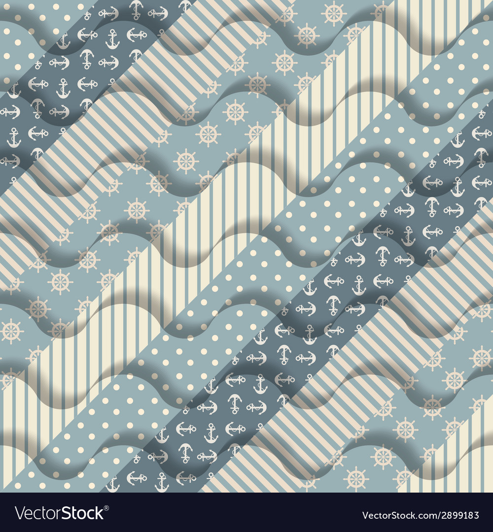 Waves on striped pattern vector | Price: 1 Credit (USD $1)