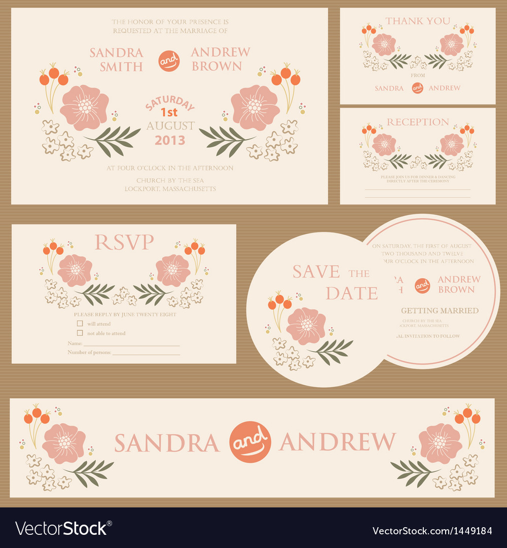 Beautiful vintage wedding invitation cards vector | Price: 1 Credit (USD $1)