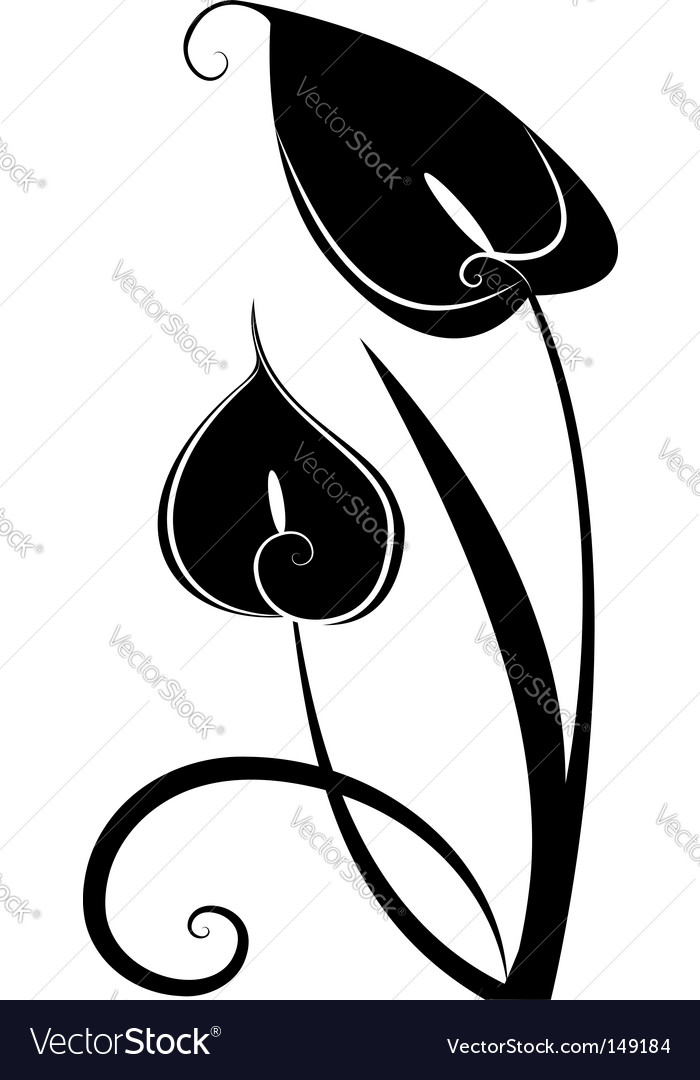 Black flowers vector | Price: 1 Credit (USD $1)