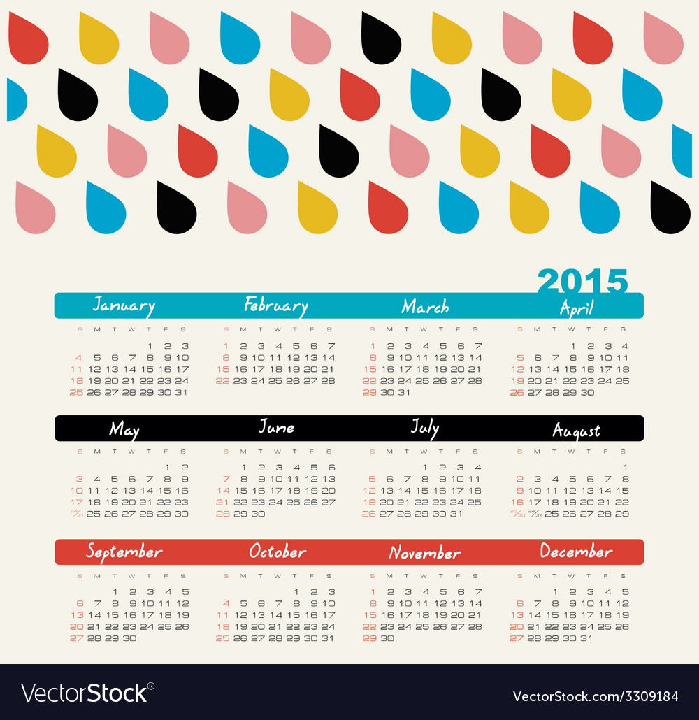 Calendar 2015 year with colored drops vector   Price: 1 Credit (USD $1)
