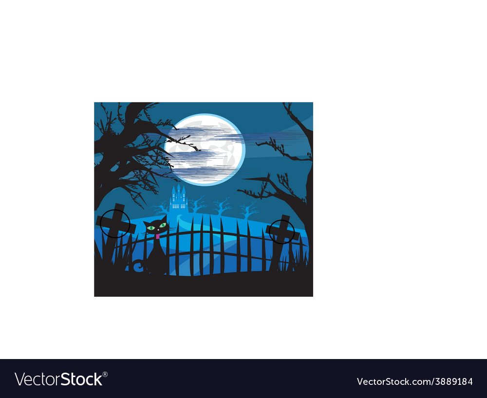 Cat on cemetery vector | Price: 1 Credit (USD $1)