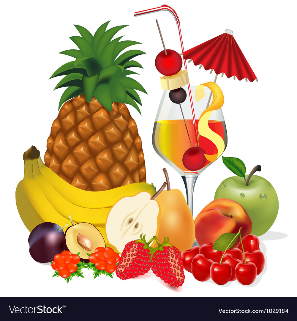 Cocktail and fruits banana apple peach cherry plum vector | Price: 1 Credit (USD $1)
