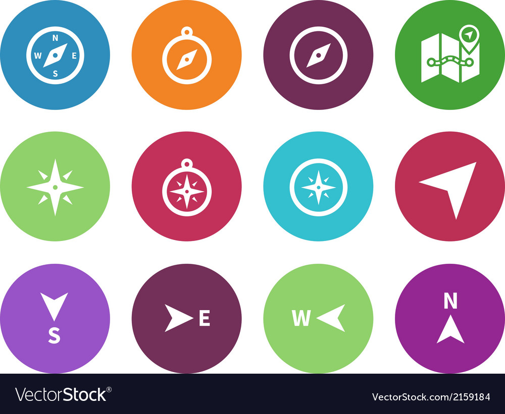 Compass circle icons on white background vector | Price: 1 Credit (USD $1)