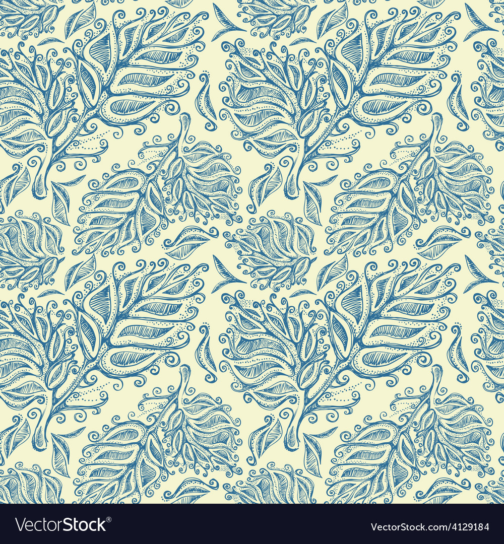 Doodle ink seamless leaf pattern vector | Price: 1 Credit (USD $1)