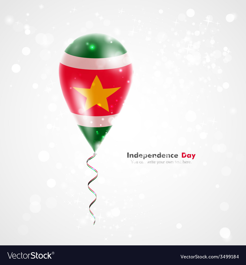Flag of suriname on balloon vector | Price: 1 Credit (USD $1)