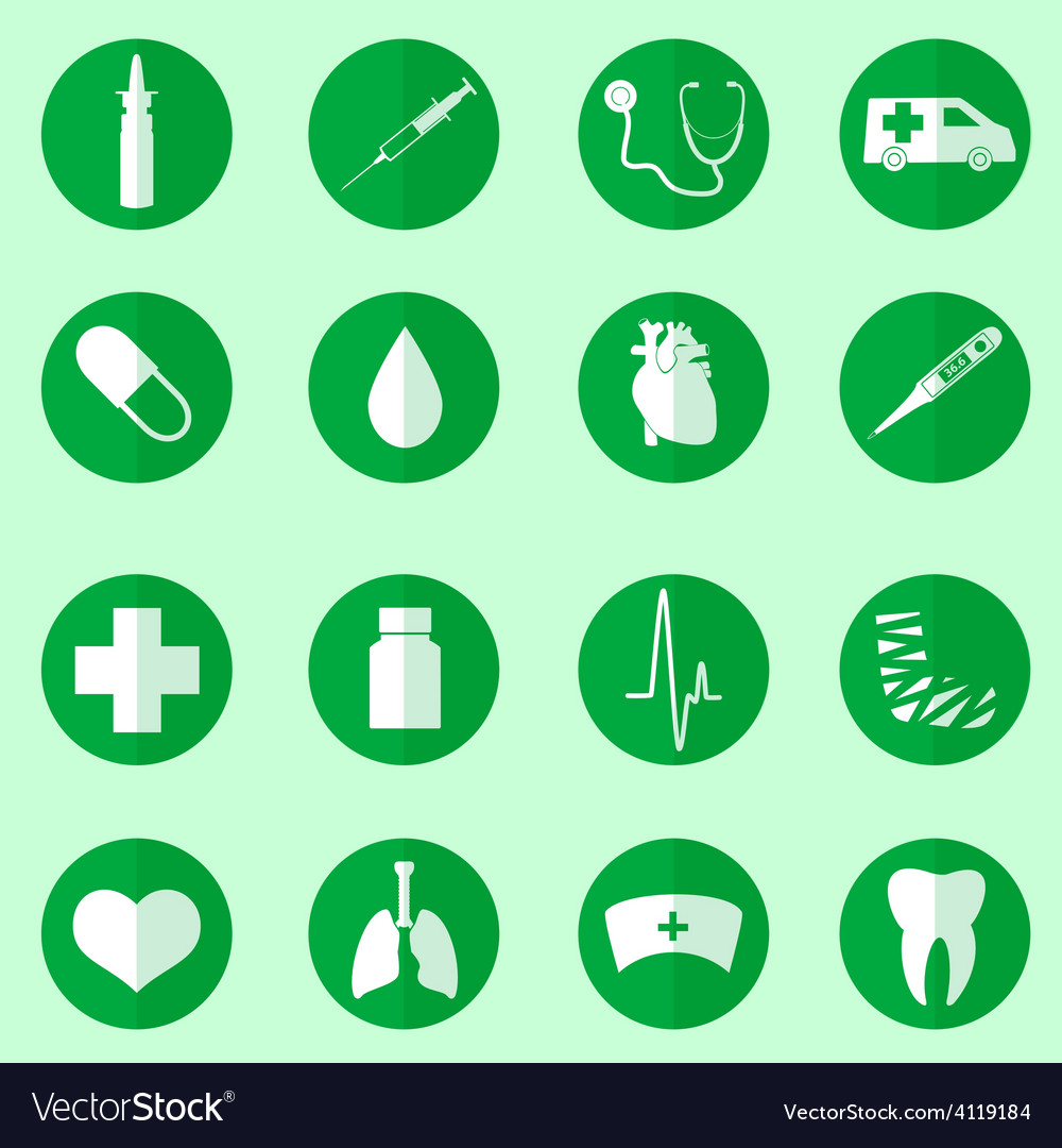 Hospital and medical icons set in circle eps10 vector | Price: 1 Credit (USD $1)