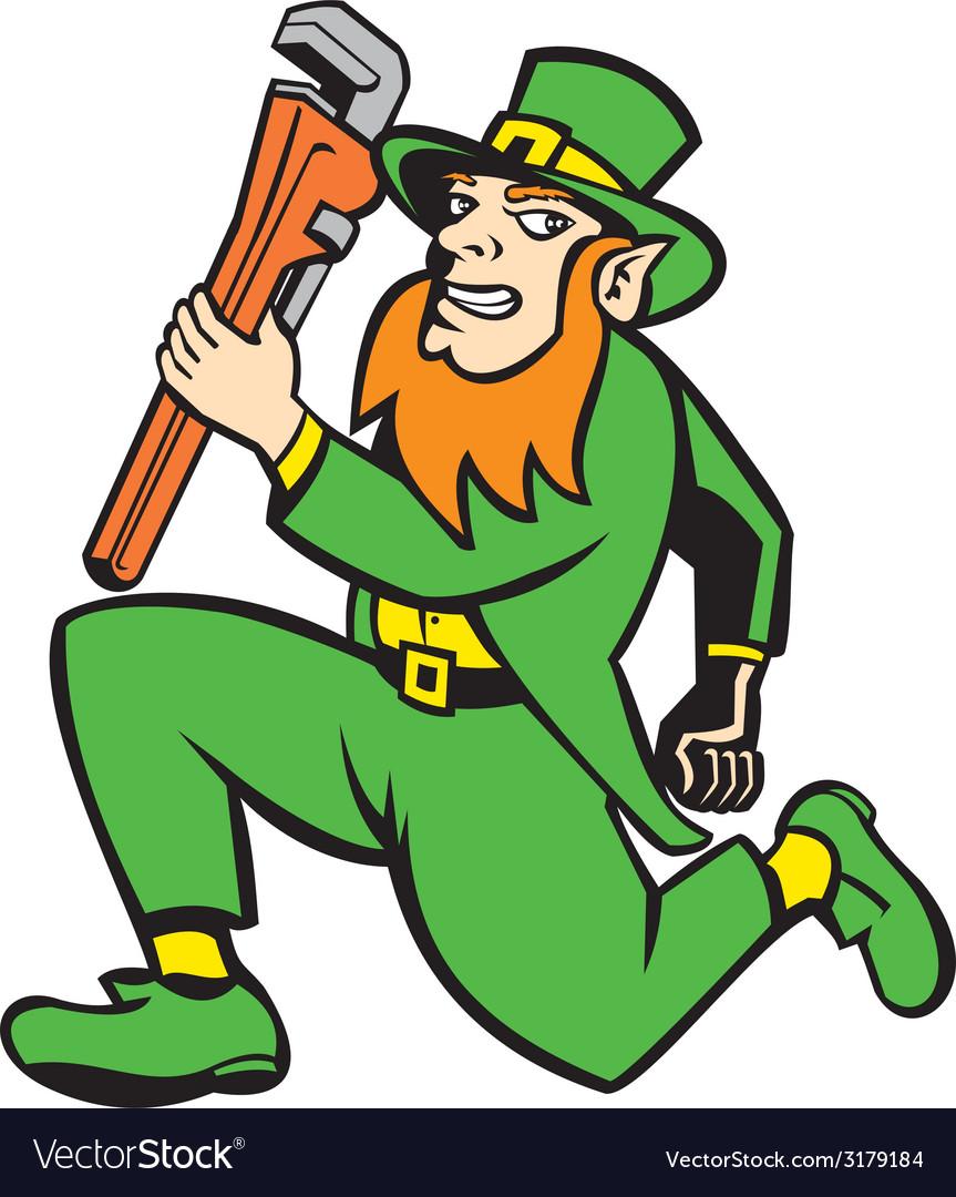 Leprechaun plumber wrench running retro vector | Price: 1 Credit (USD $1)