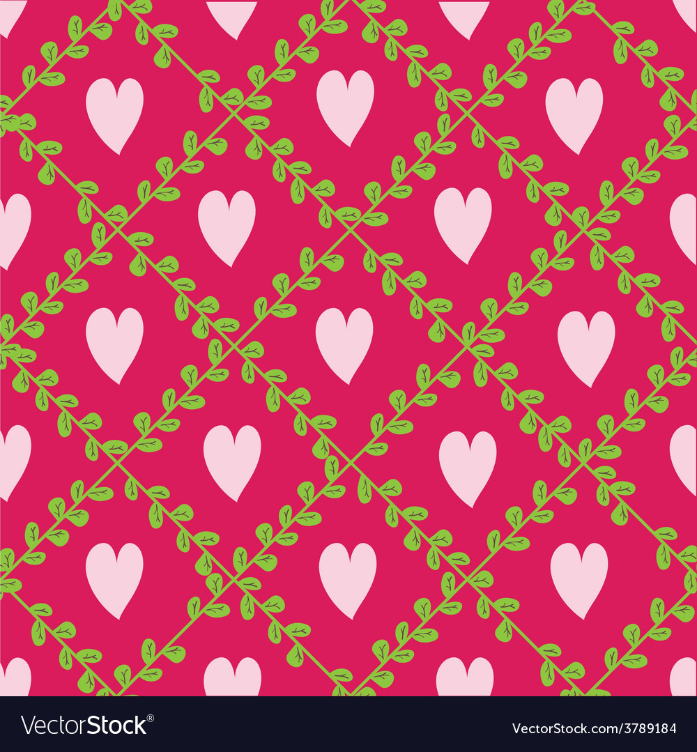 Pattern with floral elements and hearts vector