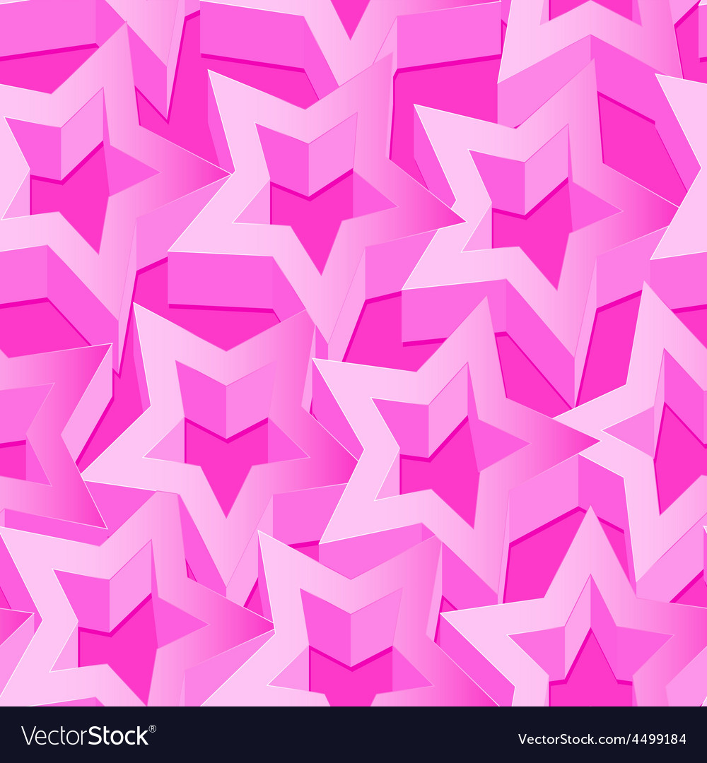 Pink 3d stars seamless patter on pink vector | Price: 1 Credit (USD $1)