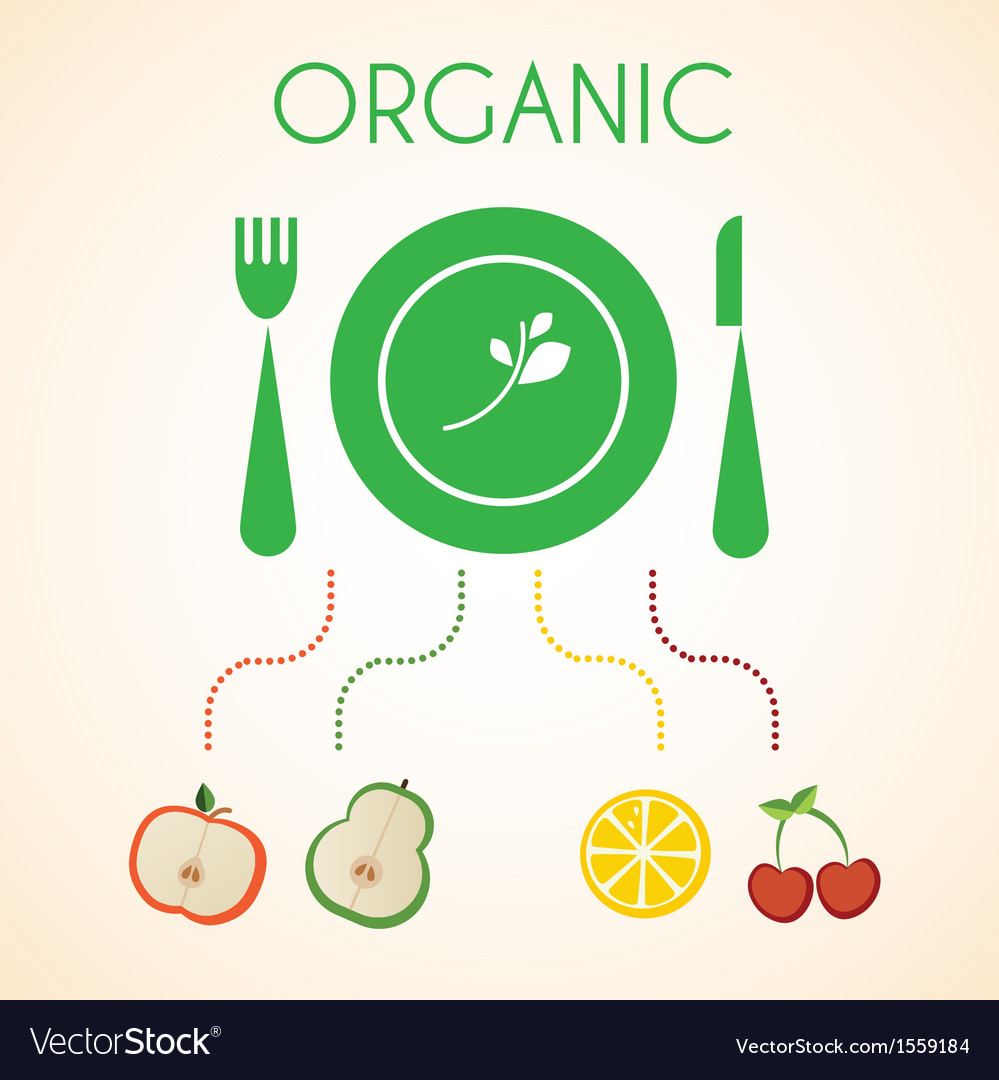 Plate of organic fruits vector | Price: 1 Credit (USD $1)