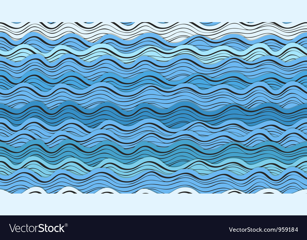 Seamless background of abstract blue waves vector | Price: 1 Credit (USD $1)