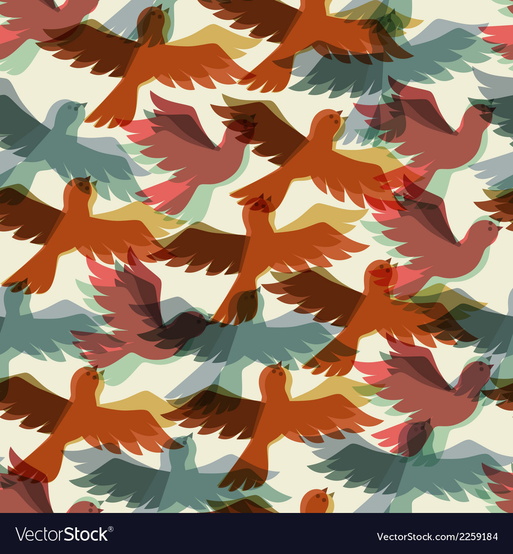 Seamless pattern with stylized color flying birds vector | Price: 1 Credit (USD $1)