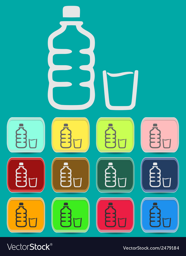 Set of isolated water bottle and amp vector | Price: 1 Credit (USD $1)