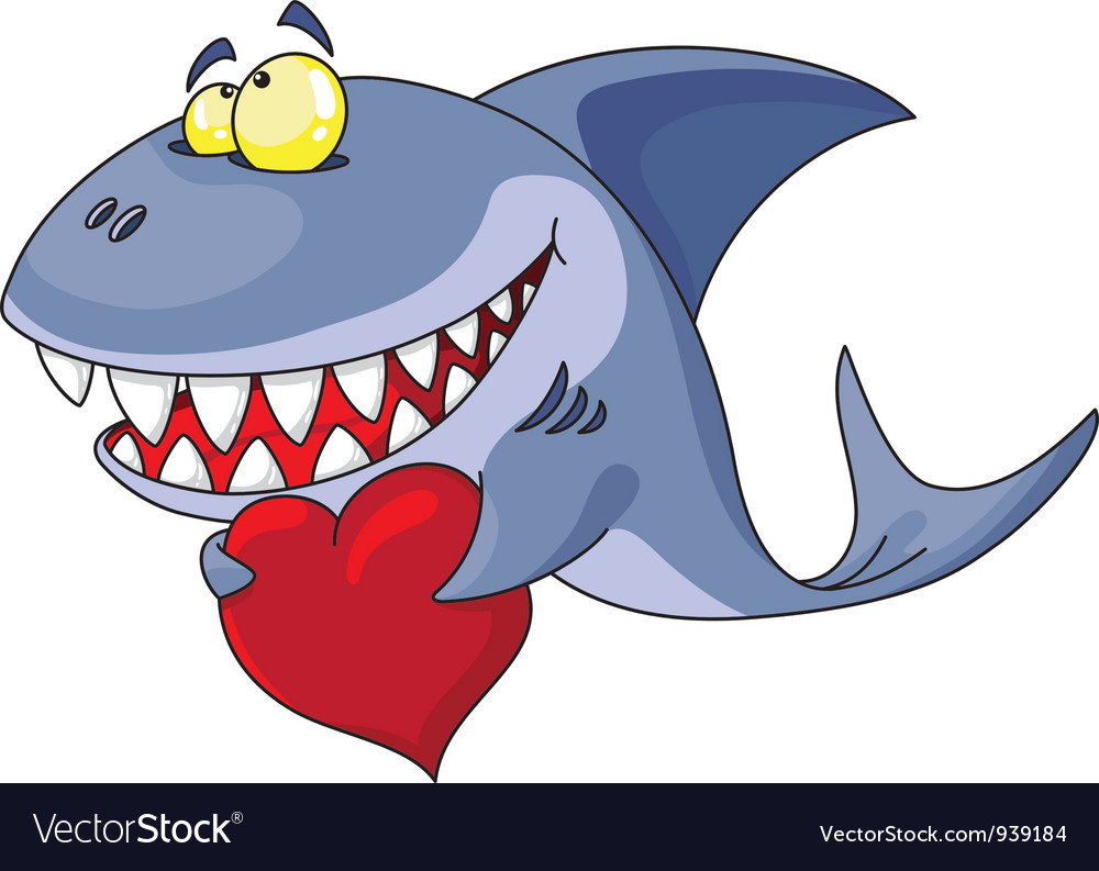 Shark and heart vector | Price: 3 Credit (USD $3)