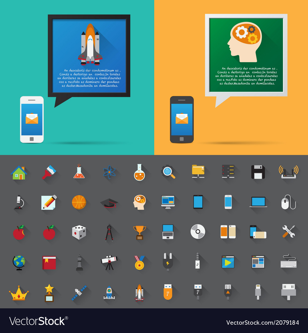 Smartphone alert and flat icons collection set 4 vector | Price: 1 Credit (USD $1)