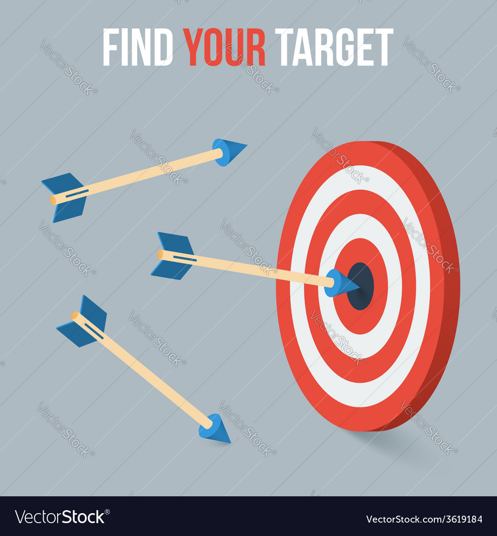 Target concept in flat axonometric style vector | Price: 1 Credit (USD $1)