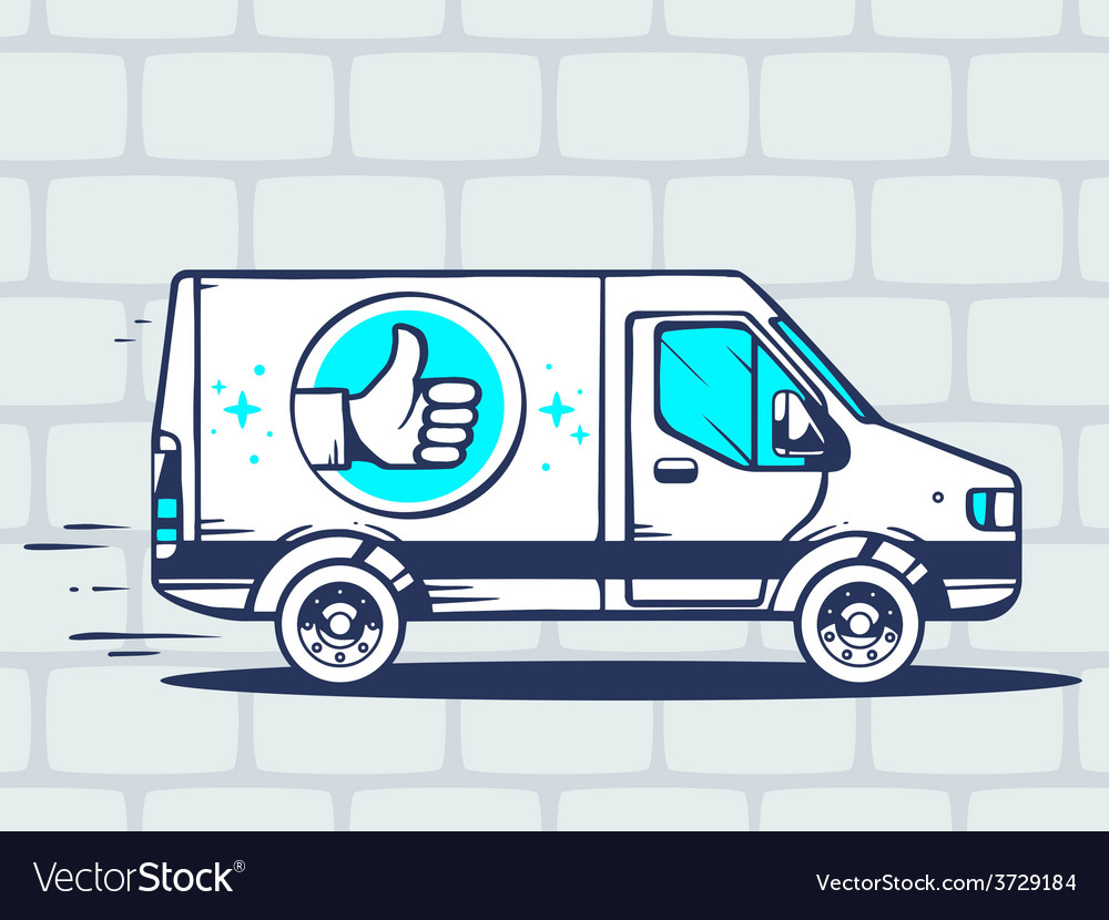 Van with label thumb up free and fast del vector | Price: 1 Credit (USD $1)